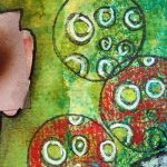 Zetti art journal page with stencil & stamps