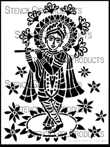 stencil-krishna-deity