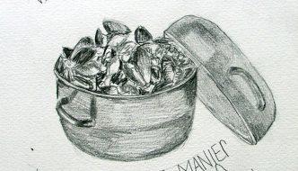 Desk, pens, art journals, mussels & art history